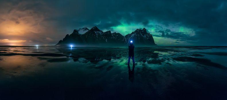 Заставки Исландия, Северное сияние, море