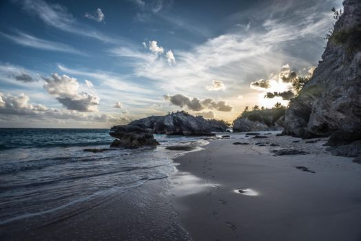 Photo free Beautiful sunset on the island of Bermuda, sea, rocks