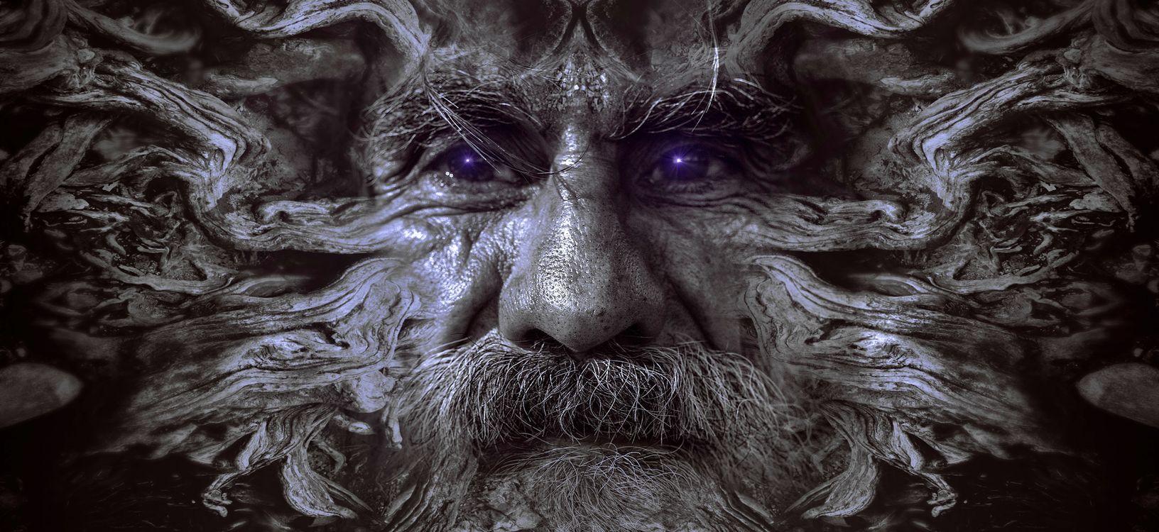 Фото бесплатно портрет, фантазия, лицо, человек, старый, корень, древесины, структура, искусство, таинственный, сюрреалистический, мистический, составление, фотомонтаж, магия, фантастика