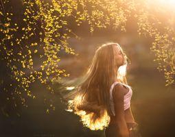 Фото бесплатно лучи солнца, девушка, ветки деревьев