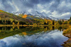 Отражение осеннего леса в горном озере · бесплатное фото