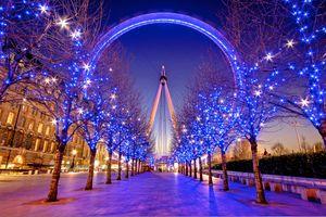 Бесплатные фото Рождественский вечер,London Eye,Лондон,Великобритания,С Рождеством,город,иллюминация