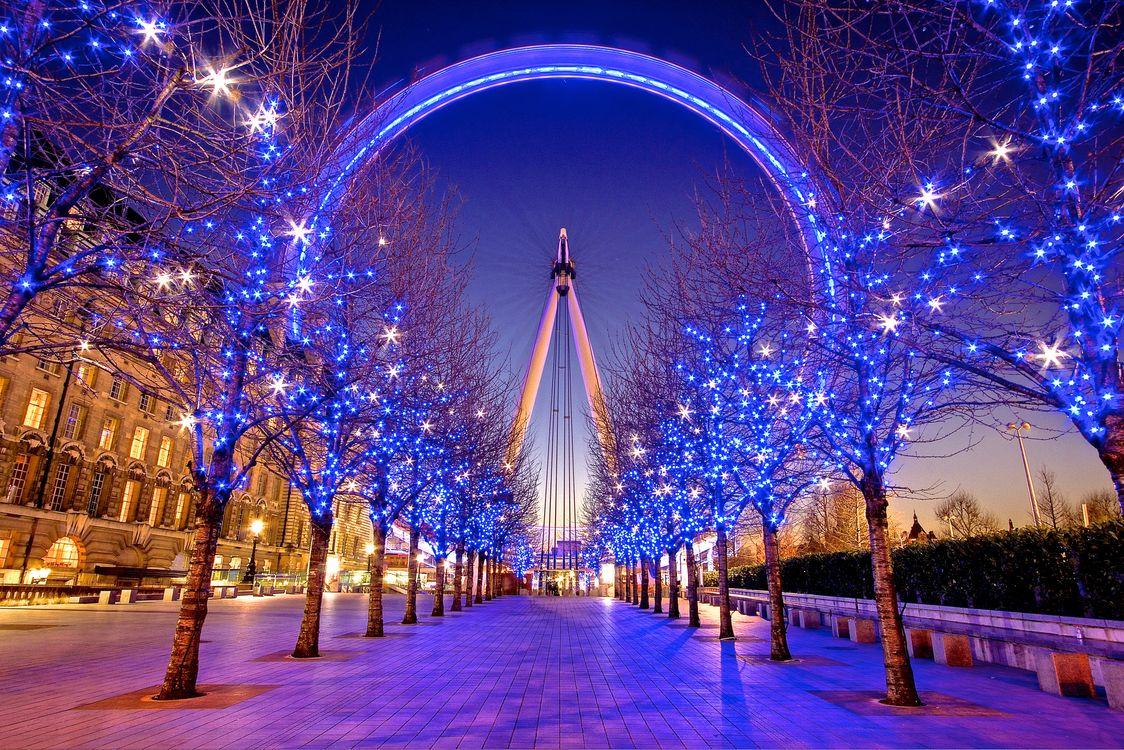 Фото бесплатно Рождество, освещение, дороги - на рабочий стол