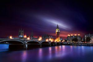 Заставки Big Ben,London City,Westminster,ночь,иллюминация,фонари,город