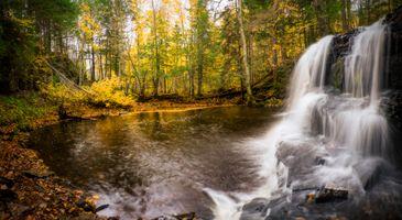 Заставки осень, водопад, водоём