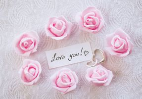 Photo free pink roses, love you, letter
