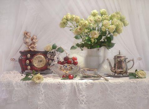 Фото бесплатно фон, старинные часы, розы