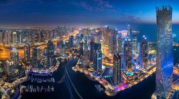 Заставки ночные города, Дубай, ОАЭ