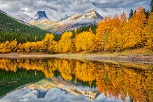 Бесплатные фото Альберта,Канада,осень,Озеро Кананаскис,Гора Кидд,деревья,горы