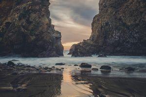 Фото бесплатно пляж, скалы, облака
