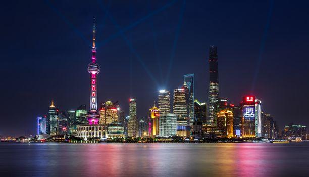 Заставки Китай, ночной город освещение, Шанхай