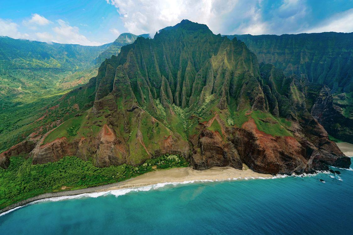 Фото бесплатно пляж, скала, море, природа, озеро, гора, воздушный, пали, гавайи, зеленый, пейзажи