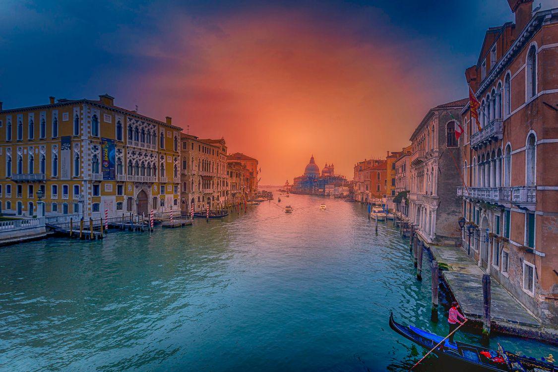 Фото бесплатно Grand Canal, Venice, Гранд-Канал, Венеция, Италия, закат, город, город
