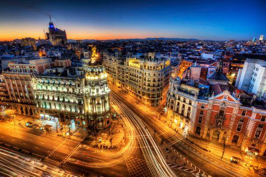 Заставки Calle Gran Via, дома, Madrid