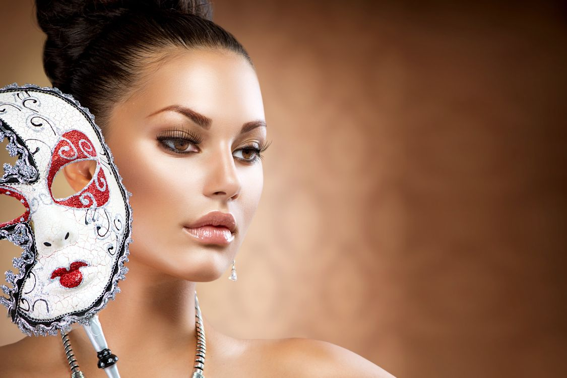 Обои маска, девушка, стиль картинки на телефон