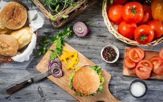 Фото бесплатно хлеб, гамбургер, нож