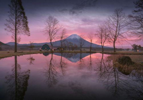 Заставки Фудзияма, отражение, берег