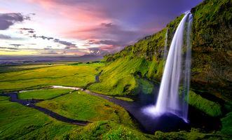 Бесплатные фото Водопад Сельяландсфосс,Исландия,закат,водопад,речка,ручей,скалы