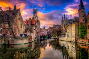 Фото бесплатно ночные города, архитектура, Брюгге