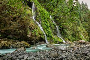 Бесплатные фото лес,водопад,скалы,деревья,речка,камни,природа
