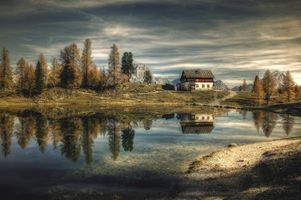 Заставки природа, хижина, озеро