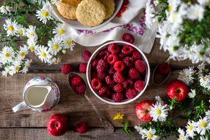 Фото бесплатно печенье, завтрак, малина