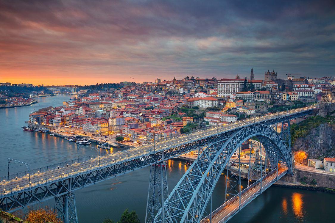 Фото бесплатно Porto, Portugal, Порто, Португалия, закат, город, мост, дома, городской пейзаж, город