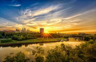 Бесплатные фото Minneapolis,Minnesota,река,мост,город,рассвет,небо