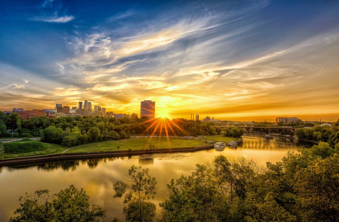 Фото бесплатно Minneapolis, Minnesota, река, мост, город, рассвет, небо, дома, городской пейзаж, город