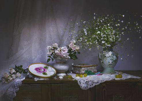 Фото бесплатно still life, шторы, виноград
