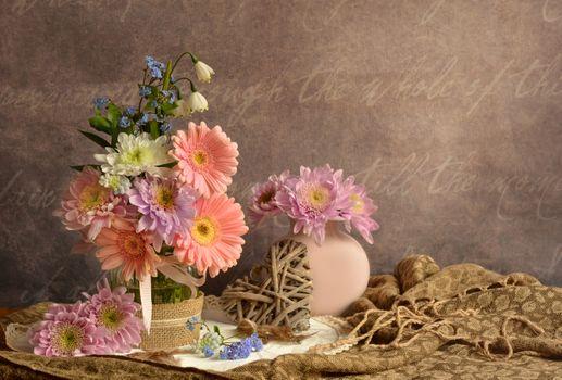 Фото бесплатно ваза, цветы, герберы