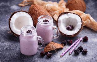 Фото бесплатно завтрак, смузи, кокос