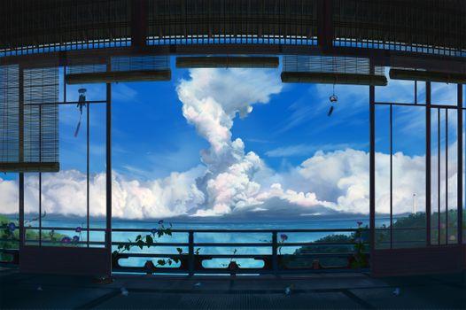Фото бесплатно облака, цветы, пейзаж