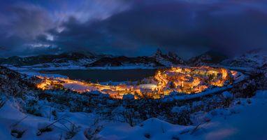Бесплатные фото ночь,город,Риано,Рианьо,Леон,Испания,горы