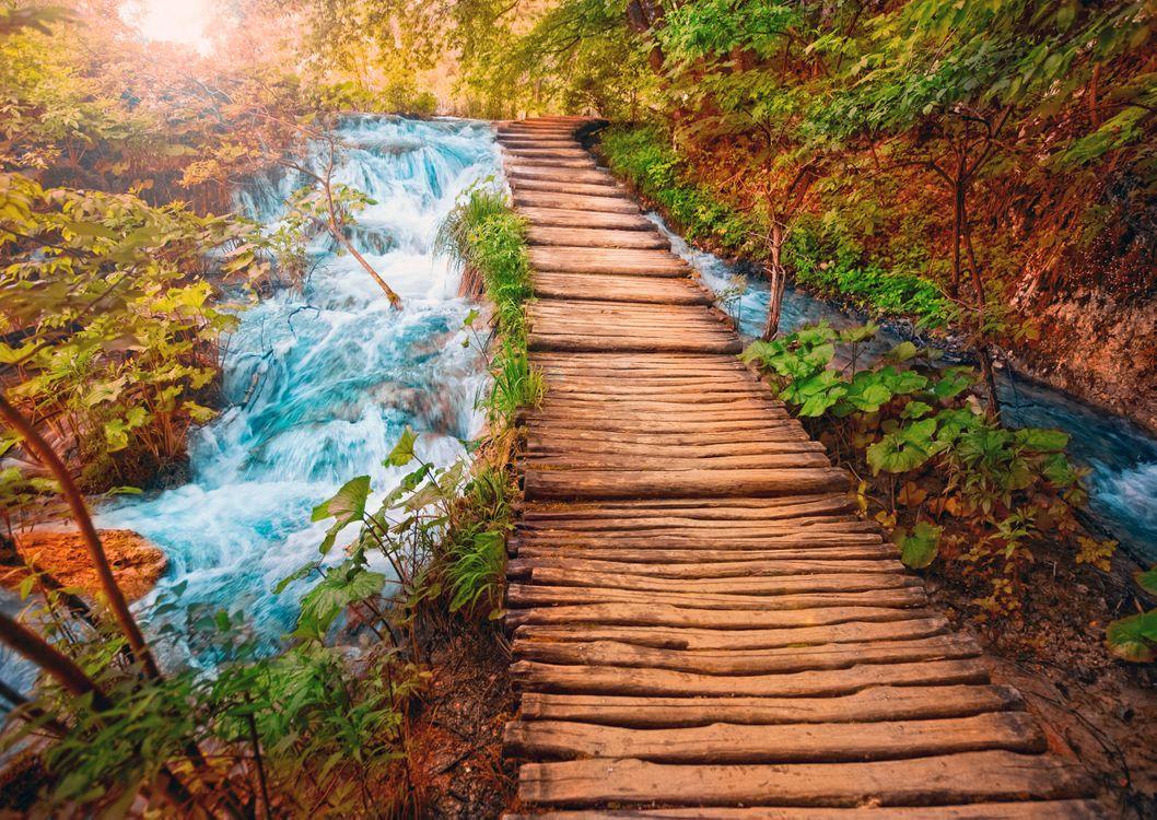 Обои Плитвицкие озера, Национальный парк Плитвицкие озера, Plitvice Lakes national park, Croatia, Хорватия, река, водопад, деревянный настил, течение, пейзаж на телефон | картинки пейзажи