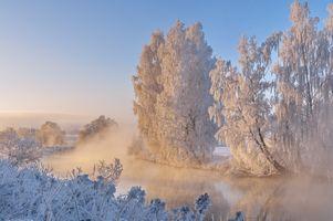 Фото бесплатно зима, река, иней