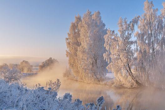Бесплатные фото река,зима,деревья,иней,пейзаж