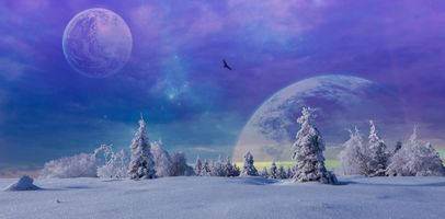 Бесплатные фото зима,фантазия,снег,деревья,небо,планеты,закат