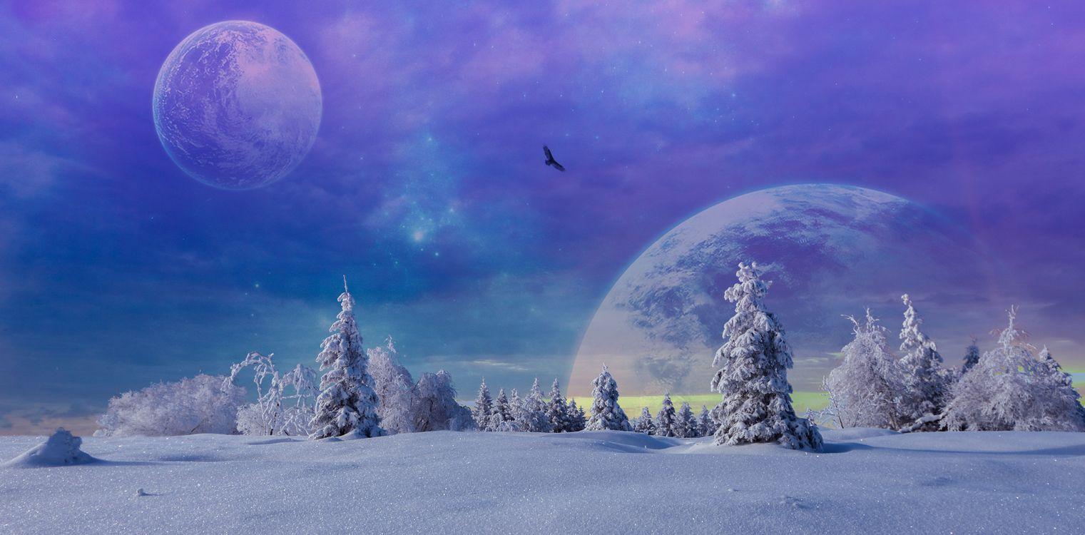 Обои зима, фантазия, снег картинки на телефон