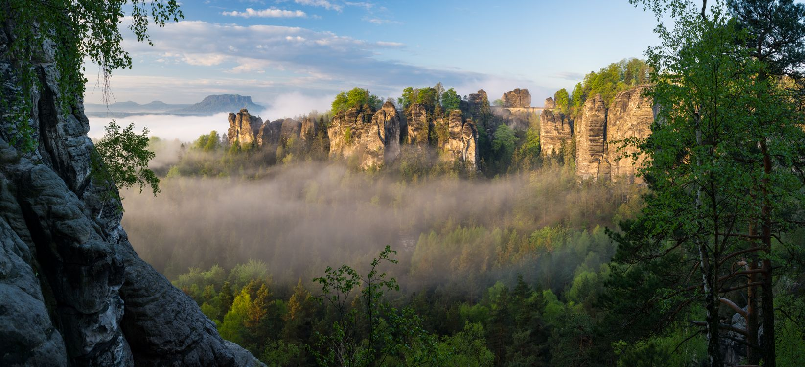 Фото бесплатно Bastei, panorama, Saxon Switzerland National Park - на рабочий стол