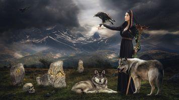 Фото бесплатно леди, владыка, ворон, волки, череп, фантазия, art