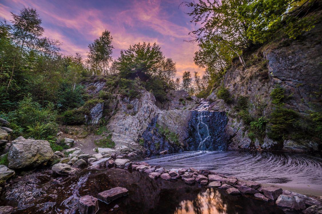 Фото закат речка водопад - бесплатные картинки на Fonwall