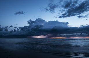 Заставки облака, вечер, молния, море, шторм