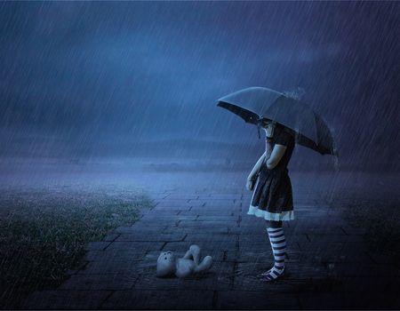 Photo free girl under umbrella in the rain, Teddy bear, girl