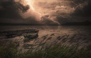 Бесплатные фото Йоркшир,Канада,закат,озеро,лодка,тучи,молния