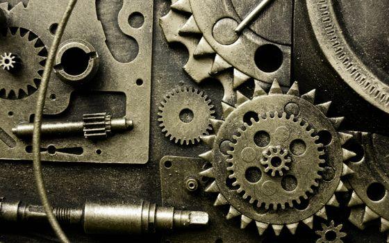 Photo free gear mechanism, gear wheel, machine
