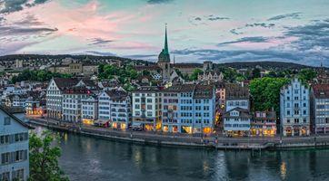 Фото бесплатно Старый город Цюрих, река Лимм, Вид из Линденхофа