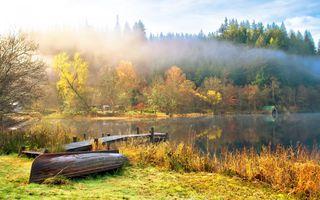 Фото бесплатно осень, лодки, облака