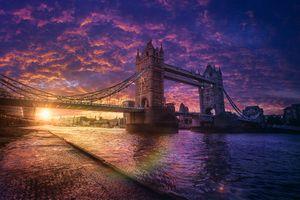 Заставки London City,Westminster,Tower Bridge,закат,город,городской пейзаж