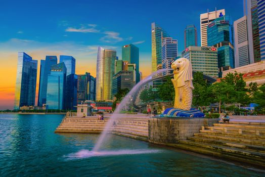 Photo free Fountain of Merlion statue, Merlion Park, Singapore